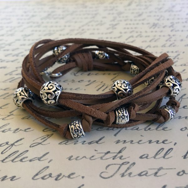Boho Leather Wrap Bracelet Kit Cocoa Beauty Shot