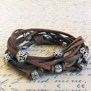 Boho Leather Wrap Bracelet in Cocoa