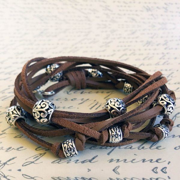 Boho Leather Wrap Bracelet in Cocoa