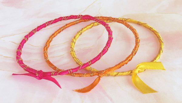 Rainbow Ribbon Bracelets Tropical Sunrise Beauty Shot