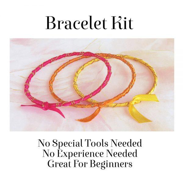Rainbow Ribbon Bracelets Tropical Sunrise No Tools Needed