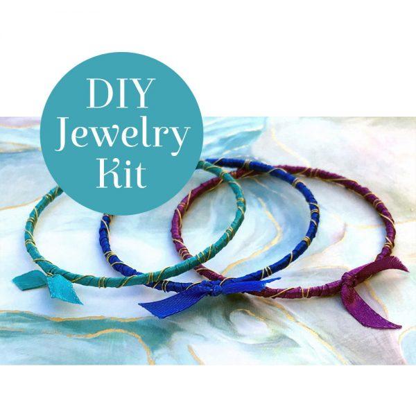 Rainbow Ribbon Wrapped Bracelets Kit Bahama Waters DIY Badge 4