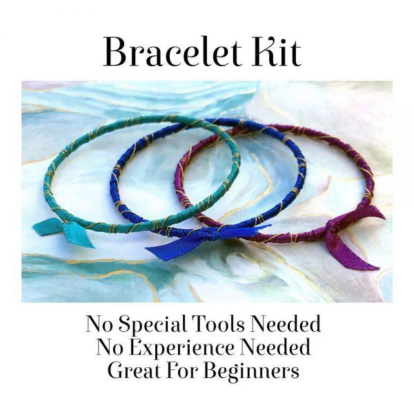Rainbow Ribbon Wrapped Bracelets Kit Bahama Waters No Tools Needed