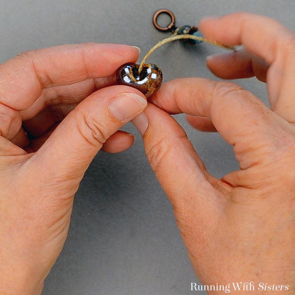 Dangling Heart Pendant - 6 Slide On Heart Bead So It Sits Upright