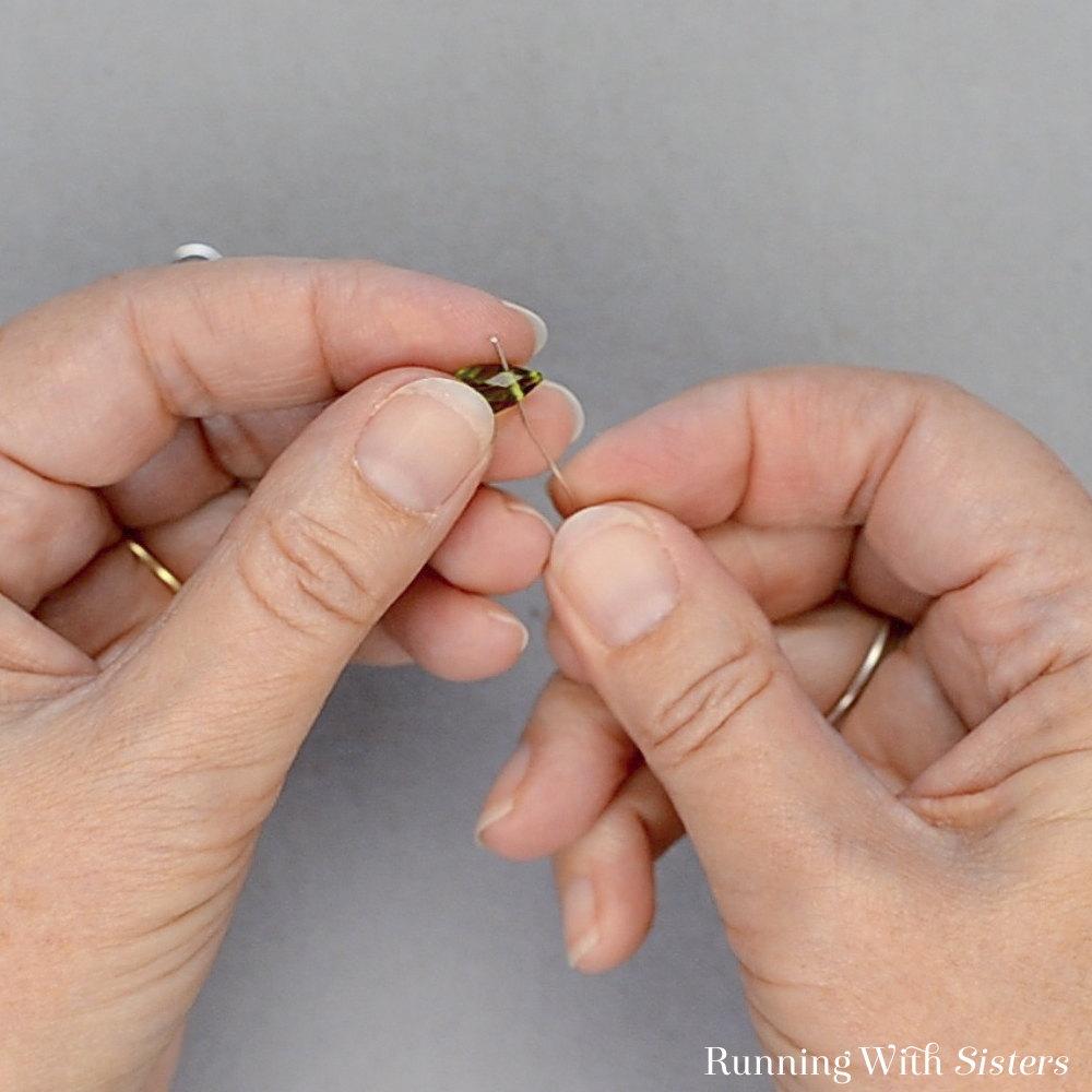 Wire Wrapped Drop Earrings - Free Wire Through Teardrop Bead