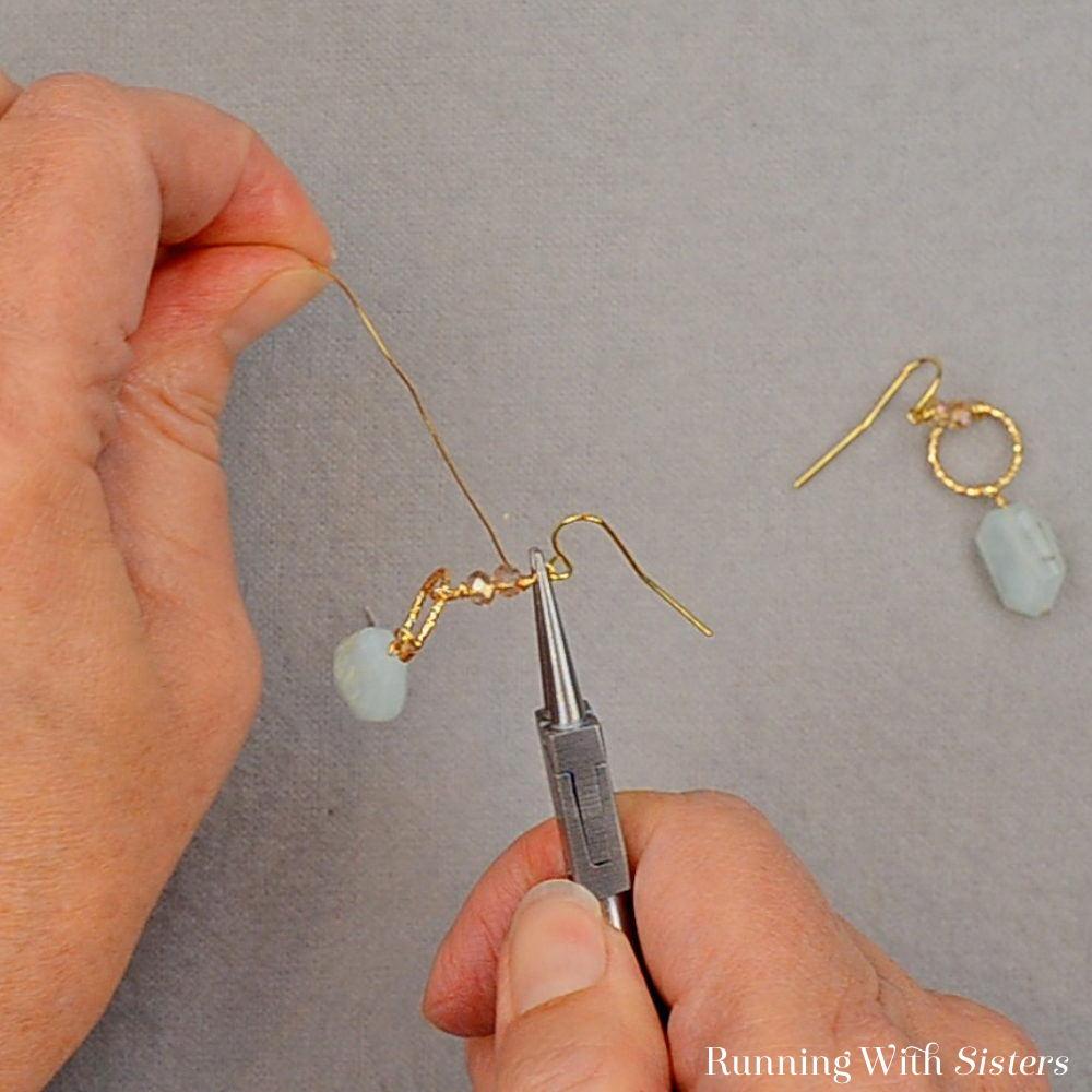 Gemstone Drop Earrings - Wrap Loop Two Times