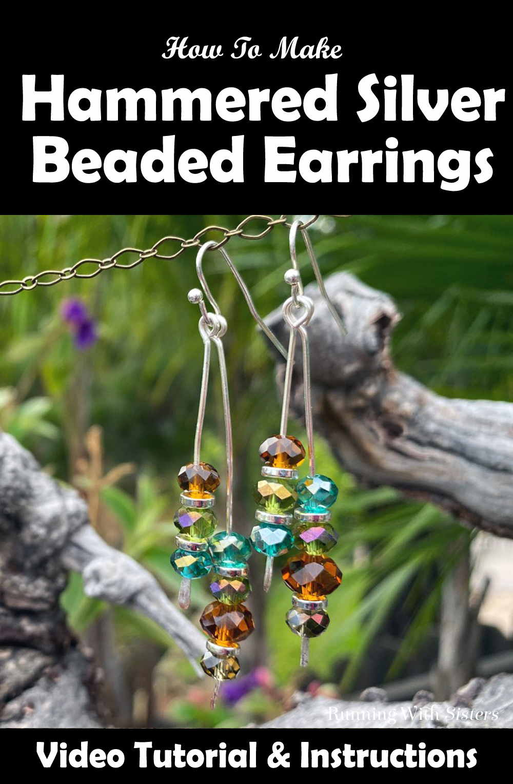 Hammered Silver Beaded Drop Earrings Pinterest