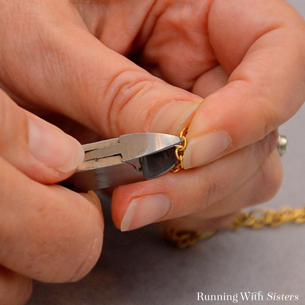 16 Long Teardrop Necklace - Cut Gold Chain In Half
