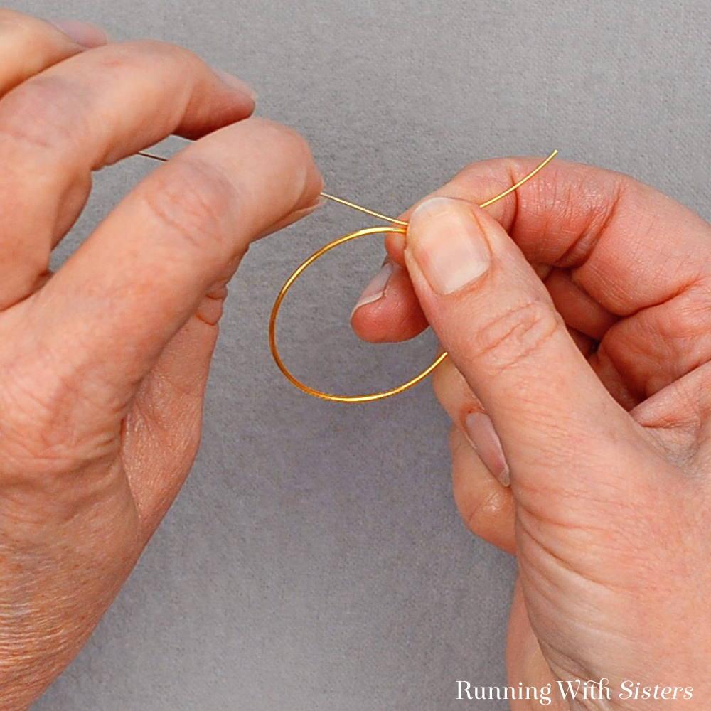 1 Delicate Bead Cluster Hoop Earrings - Wrap Wire Around Hoop Six Times