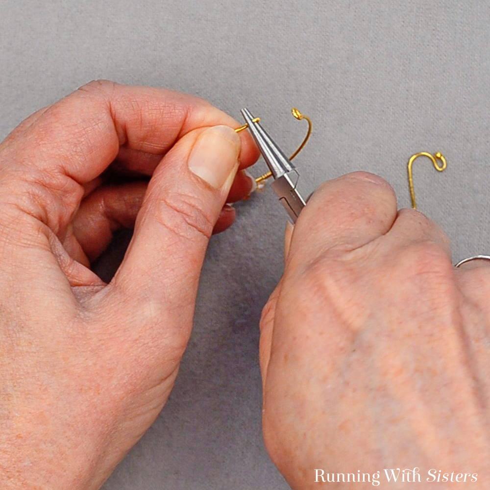 12 Delicate Bead Cluster Hoop Earring - Twist Straight End of Hoop Into A Hook Shape