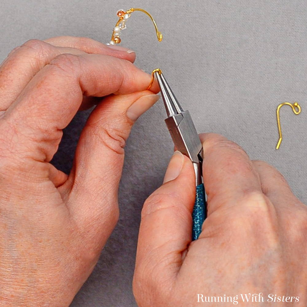 13 Delicate Bead Cluster Hoop Earring - Open Other Loop Slightly