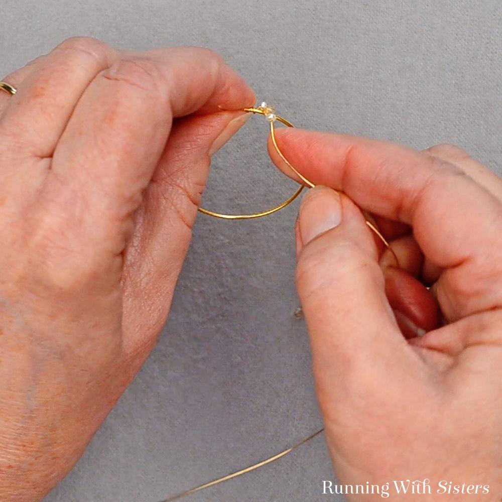 4 Delicate Bead Cluster Hoop Earring - Wrap Beaded Wire Around Hoop