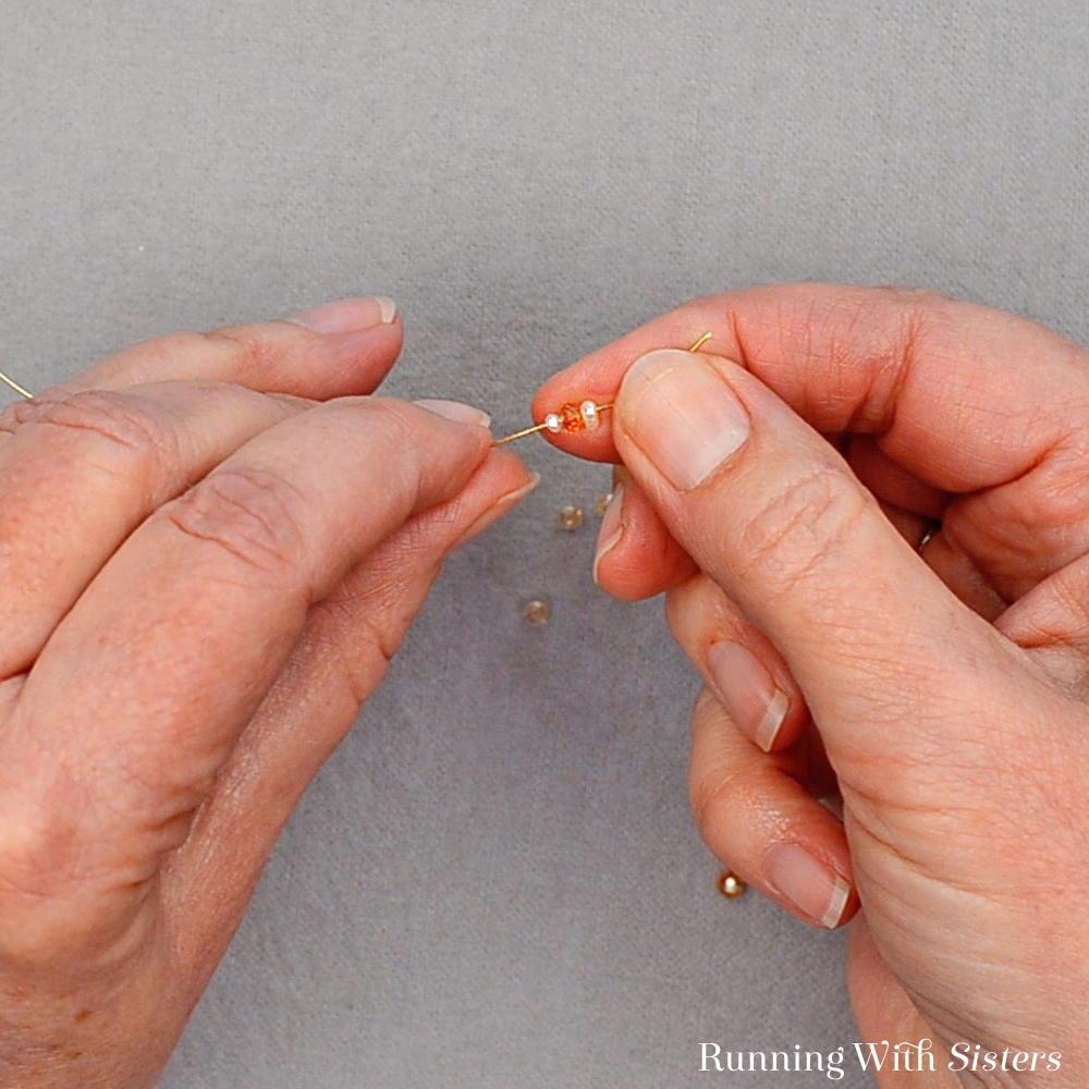 6 Delicate Bead Cluster Hoop Earring - Slide Three More Beads Onto Wire