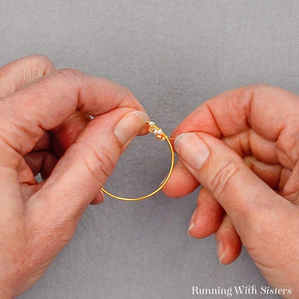 7 Delicate Bead Cluster Hoop Earring - Wrap Beaded Wire Around Hoop