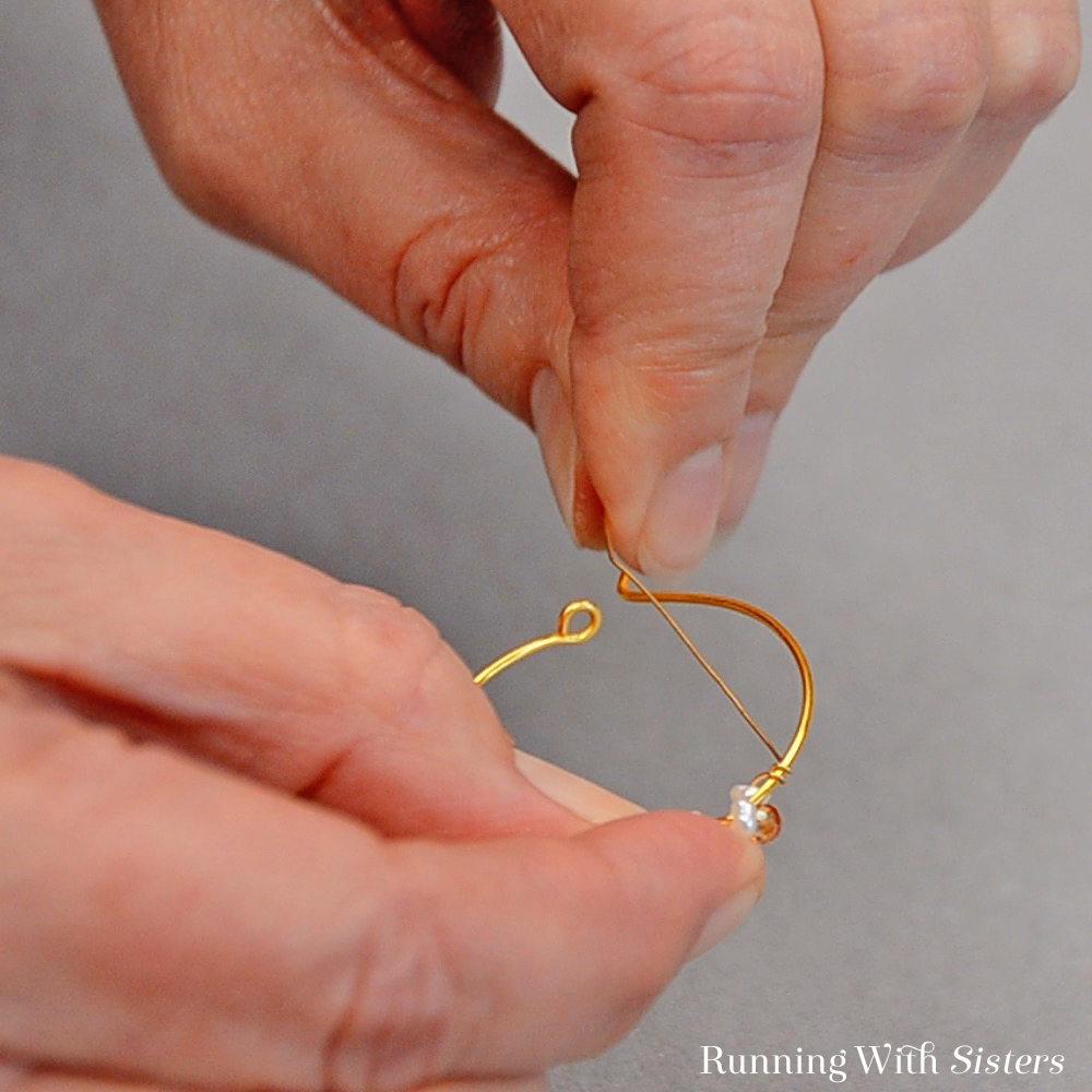 9 Delicate Bead Cluster Hoop Earring - Wrap Wire Around Hoop Six Times