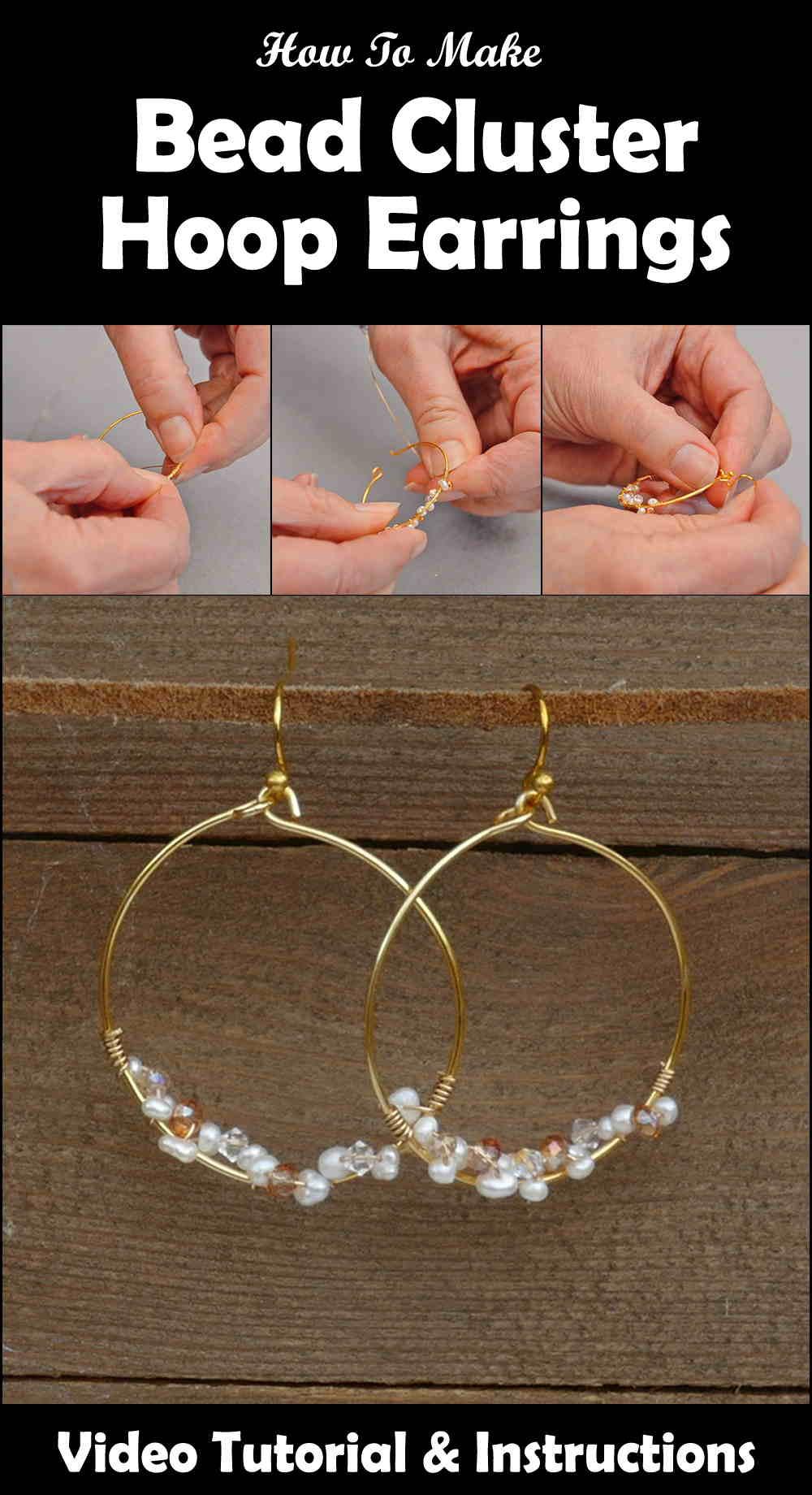 Delicate Bead Cluster Hoop Earrings Pinterest