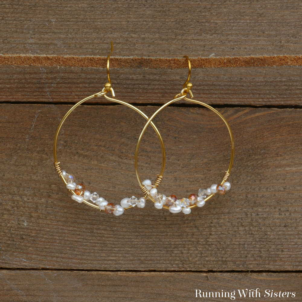 Delicate Bead Cluster Hoop Earrings Square 1