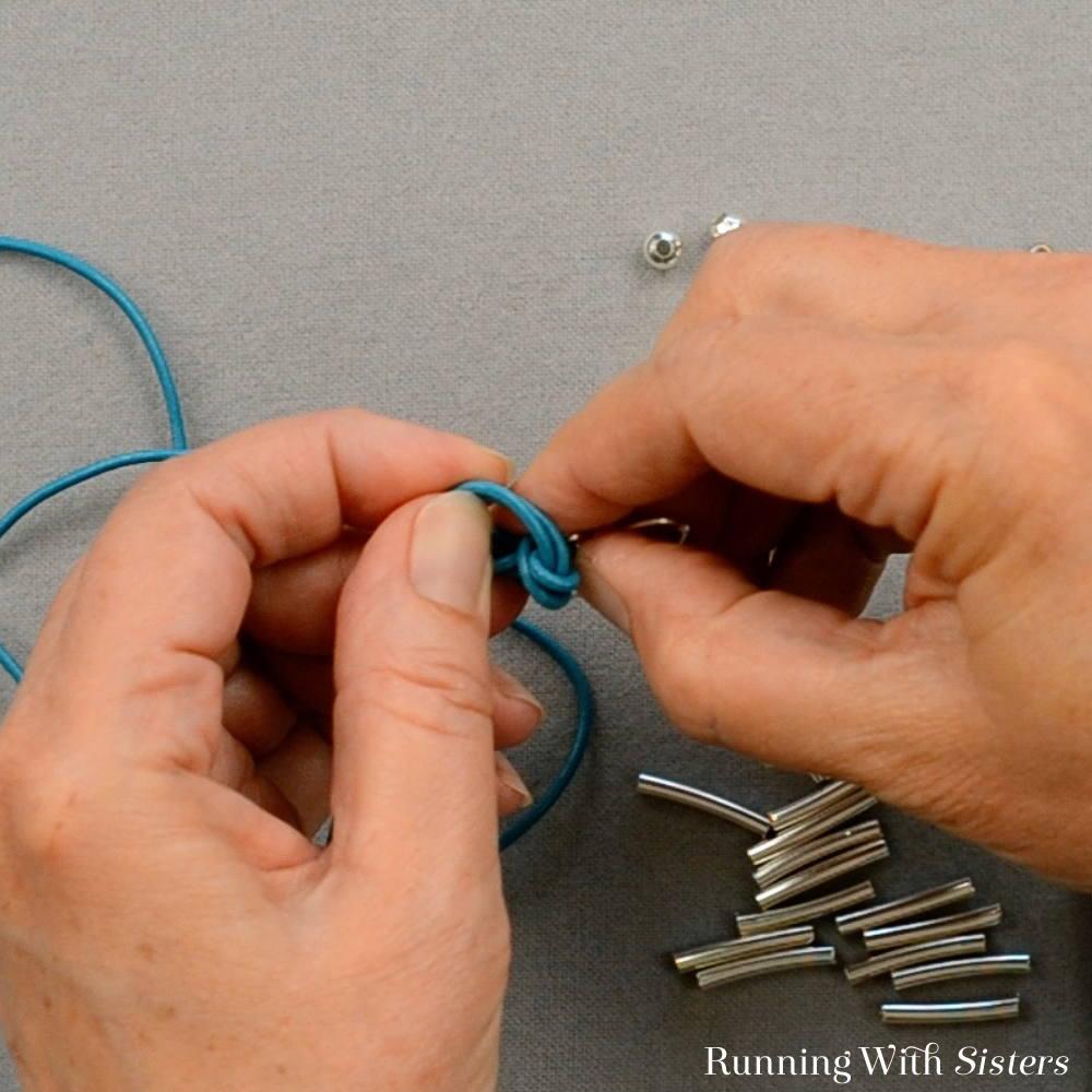 2 Morse Code Bracelet - Tie Double Overhand Knot