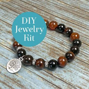 Polished Gemstone Bracelet Kit Chestnut