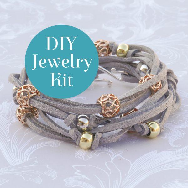 Filigree Wrap Bracelet Kit Gray Diy Jewelry Kit Square