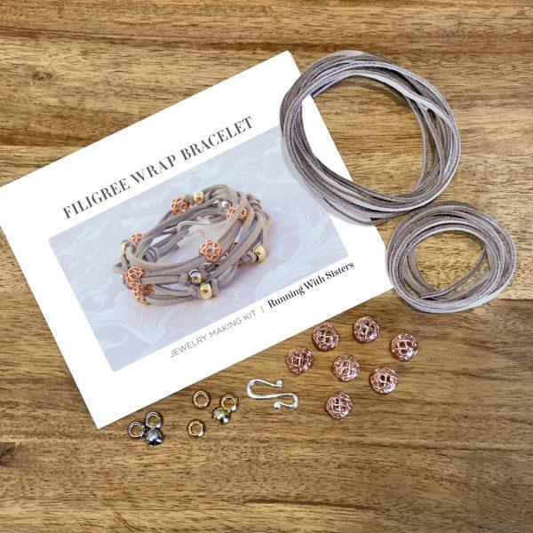 Filigree Wrap Bracelet Kit Gray Materials