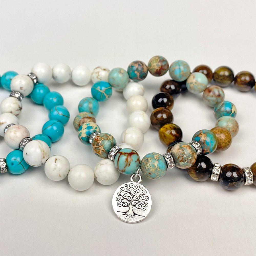 Four Gemstone Stretch Bracelets Square