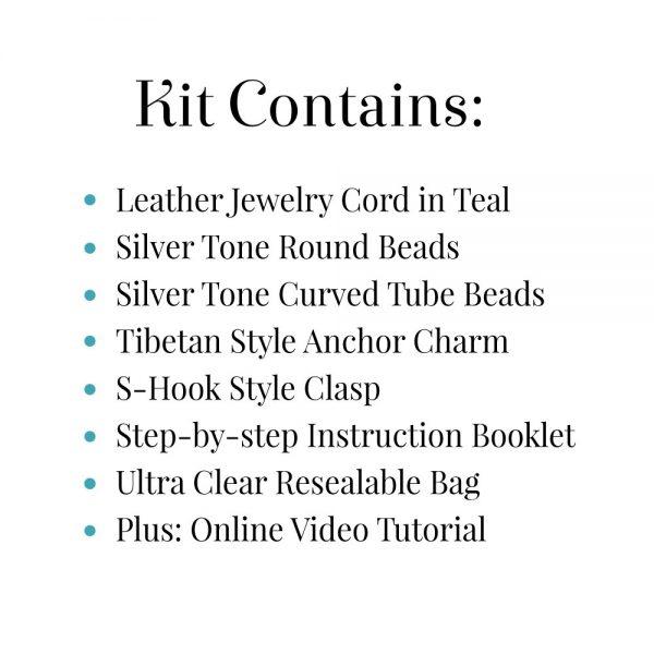 Morse Code Bracelet Kit Teal Kit Contains