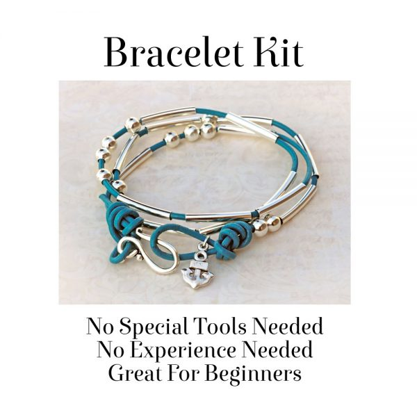Morse Code Bracelet Kit Teal No Tools Needed