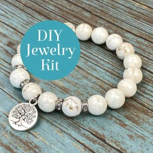 Polished Gemstone Bracelet Howlite DIY Jewelry Kit