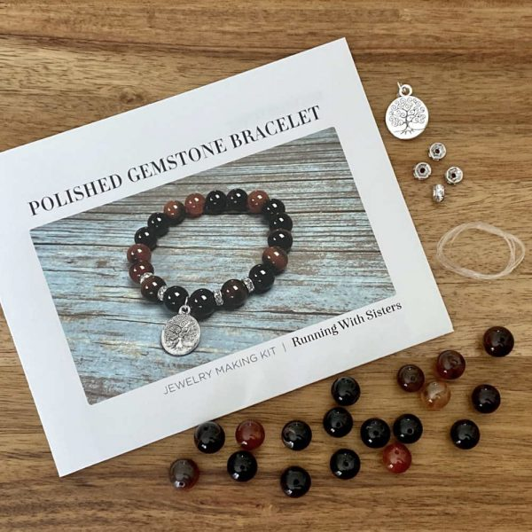 Polished Gemstone Stretch Bracelet Kit Chestnut Materials