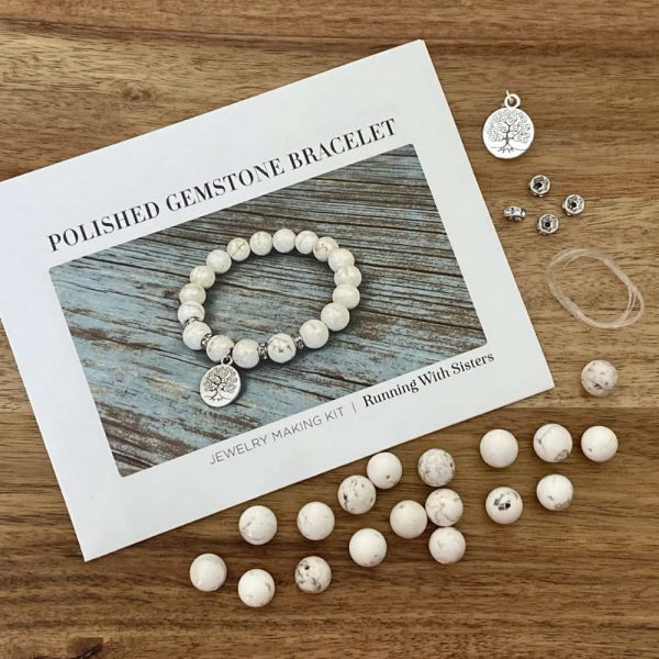 Polished Gemstone Stretch Bracelet Kit Howlite Kit Materials