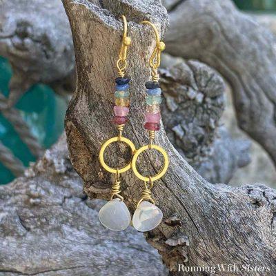Almost Tie Dyed Gemstone Earrings