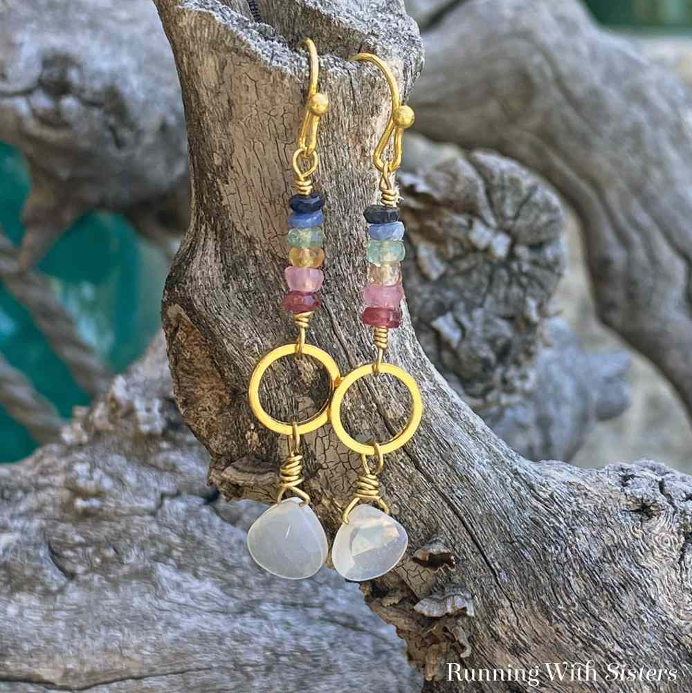 Almost Tie Dyed Gemstone Earrings