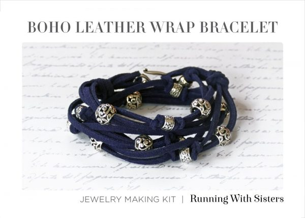 Boho Leather Wrap Bracelet Navy Bracelet Kit