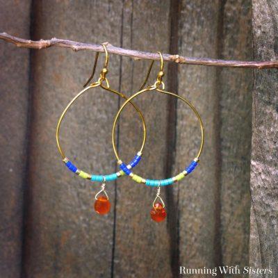 Color Block Beaded Hoop Earrings