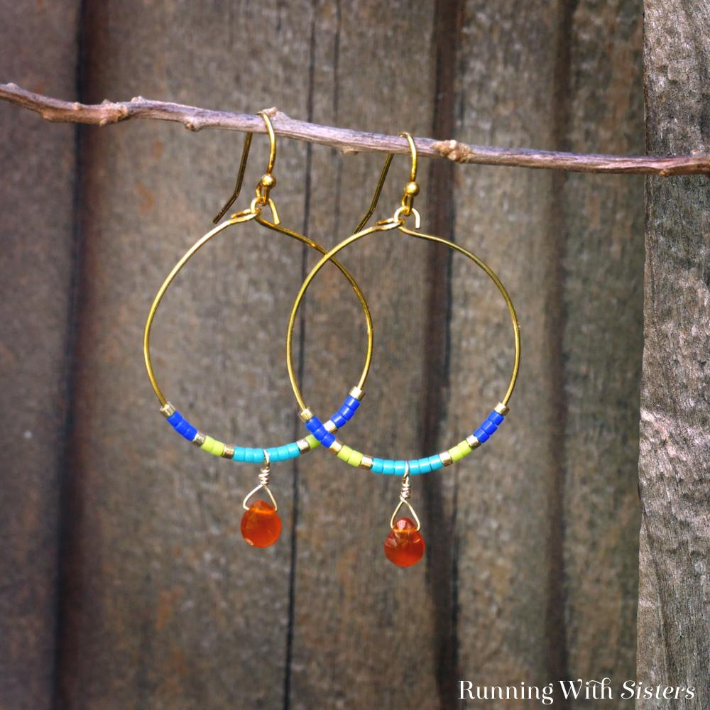 Color Block Beaded Hoop Earrings