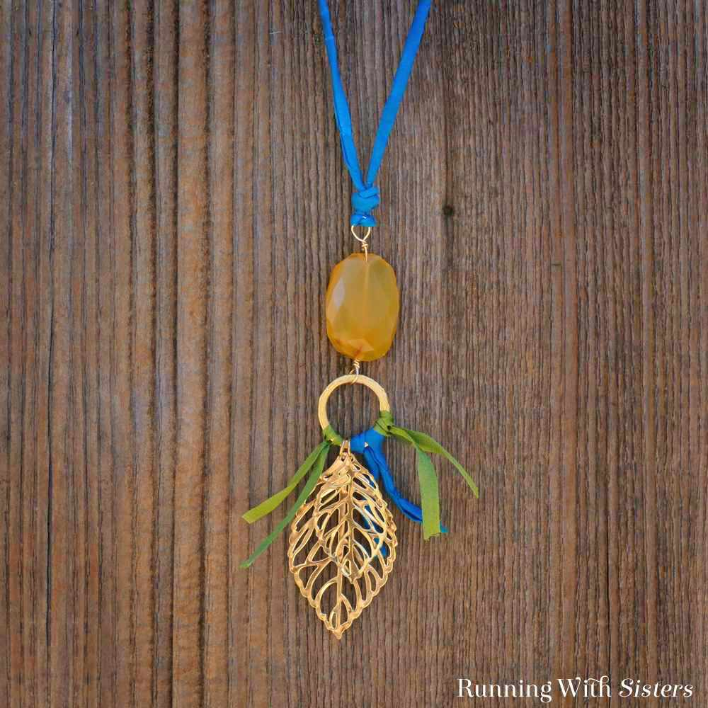 Gemstone Leaf Pendant Square