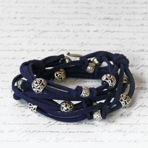 Boho Leather Wrap Bracelet Kit in Navy