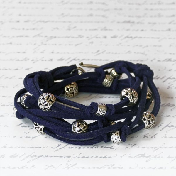 Boho Leather Wrap Bracelet Kit in Navy