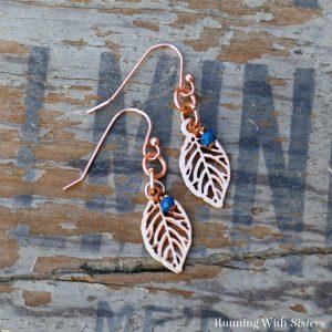 Rose Gold Leaf Charm Earrings