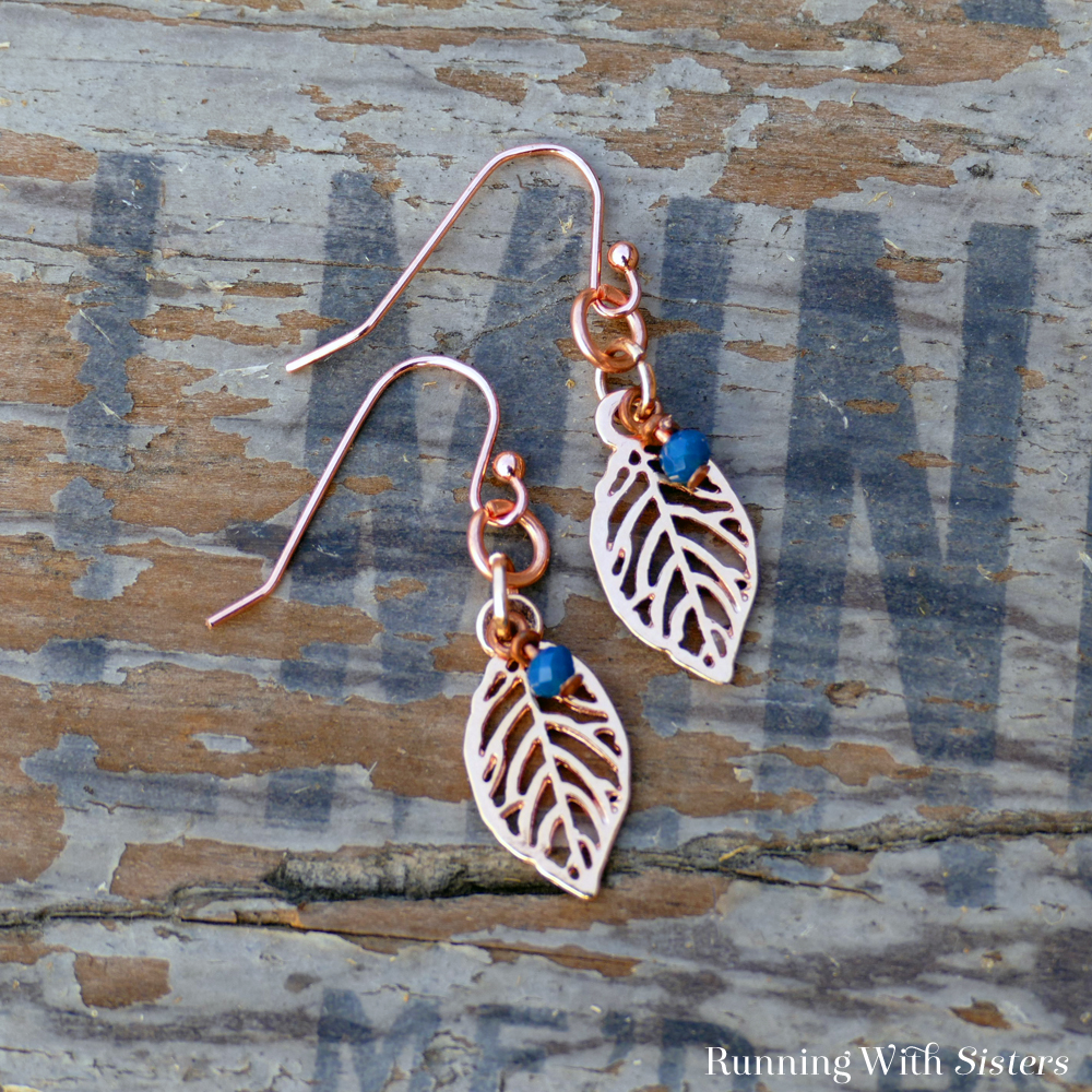 Rose Gold Leaf Charm Earrings