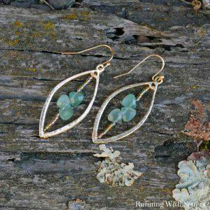 Beaded Leaf Drop Earrings Square 2