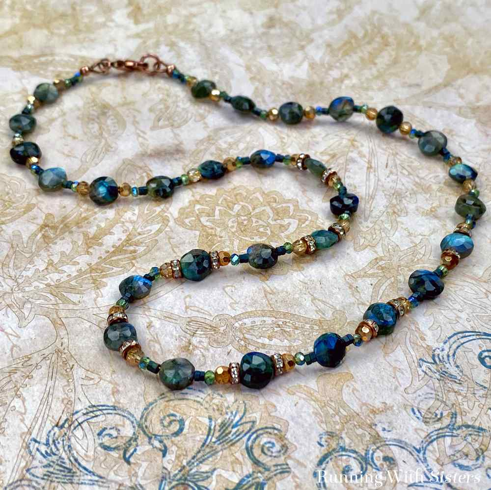 Labradorite Gemstone And Copper Beaded Necklace