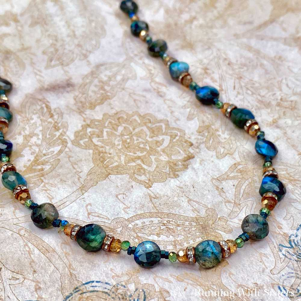 Labradorite Gemstone And Copper Beaded Necklace Detail Beads