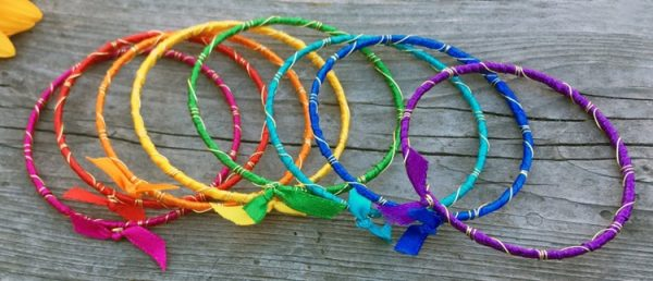 Rainbow Ribbon Wrapped Bracelets