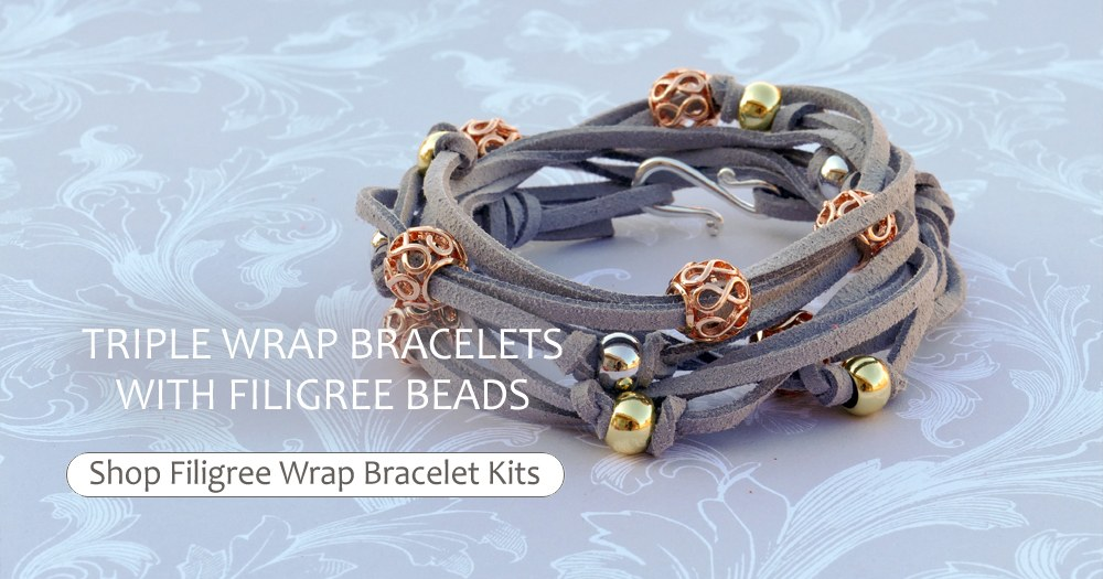Triple Wrap Bracelets With Filigree Beads