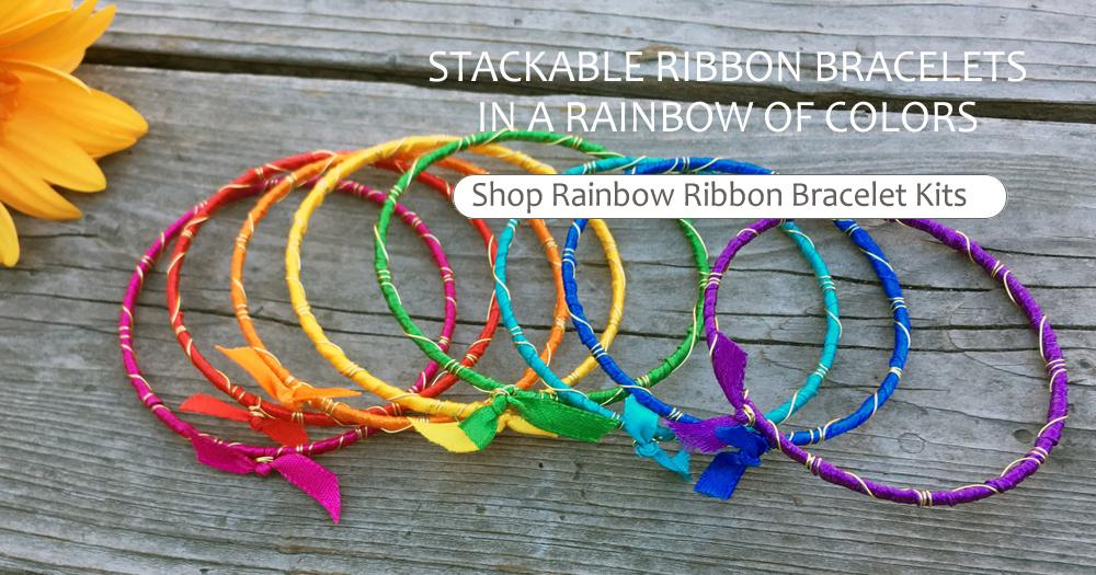 Stackable Ribbon Bracelets In A Rainbow Of Colors