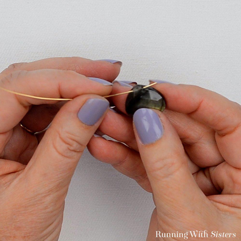 1 Labradorite Gemstone Pendant Necklace - Feed Wire Through Top Of Briolette