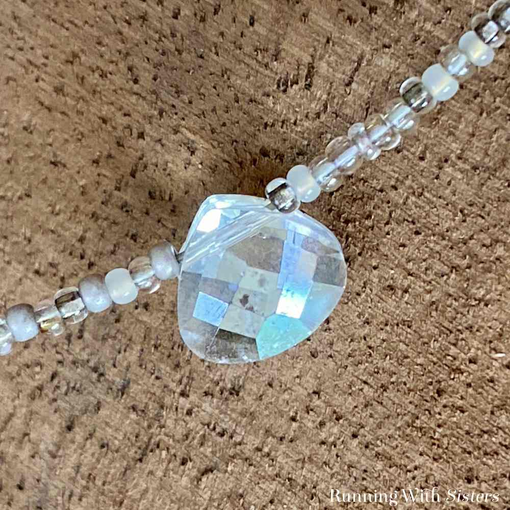 Crystal Briolette Seed Bead Necklace Detail Briolette
