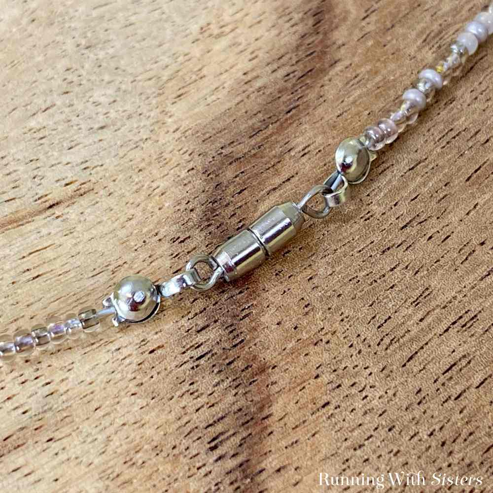 Crystal Briolette Seed Bead Necklace Detail Clasp